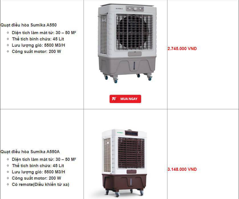 Những mẫu Quạt điều hòa 200W giá rẻ